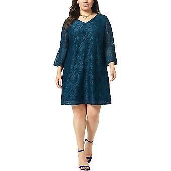 Connected Plus Size Lace Bell Sleeve Dress