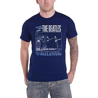 The Beatles T Shirt Live at the Palladium 1963 Poster Official Mens Navy Blue