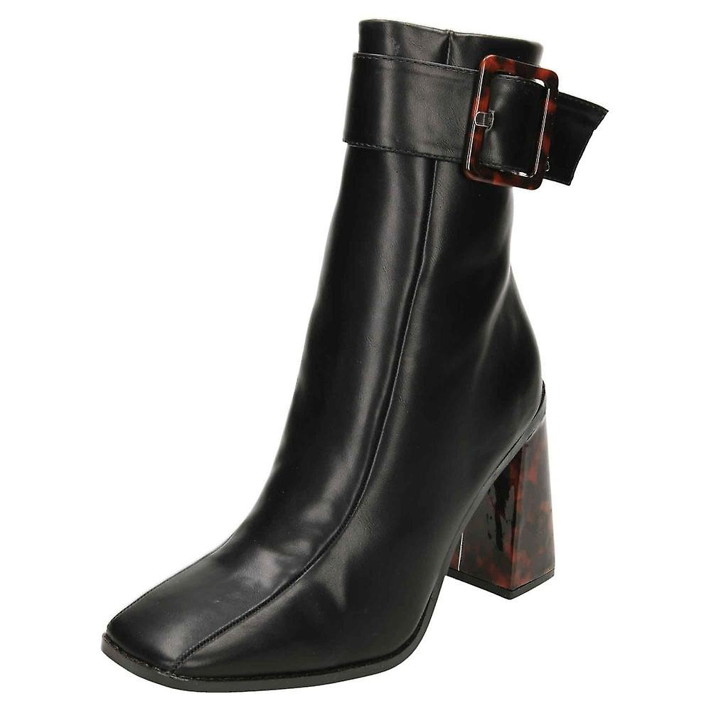 Koi Footwear Chunky Patent High Heel Square Toe Ankle Boots