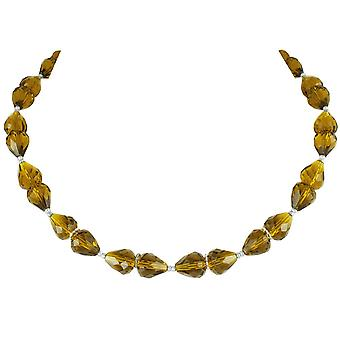 Eternal Collection Sophistication Olive Green Grade Crystal Silver Tone Necklace