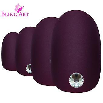 Valse nagels door Bling Art rood bruin matte ovale middellange nep acryl tips lijm-standaardtitel