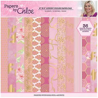 Papers by Chloe Raspberry Pink Luxury Foiled Paper Pad  8in x 8in