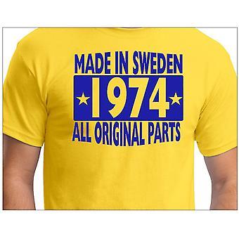 Camiseta amarela feita na Suécia 1974 TODAS AS Peças originais