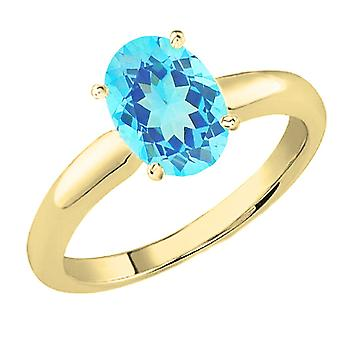 Dazzlingrock Collection 18K 9x7 MM Oval Cut Blue Topaz Ladies Solitaire Bridal Engagement Ring, Yellow Gold