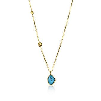 Ania Haie Silver Shiny Gold Plated Turquoise Pendant Necklace N014-02G