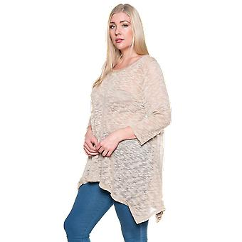Women's Casual Crew Neck Knit Loose Fit Plus Size Top