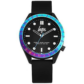 Hype Men's Black Silicone Strap |Black Dial |Multi-Coloured Bezel HYG014B Watch