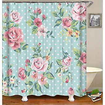 Classic Floral Over Polka Dots Shower Curtain