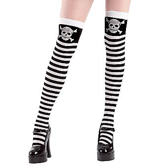 Stripe Skull and Crossbones Thigh High Costume Tights