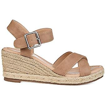 Brinley Co. Comfort Womens Espadrille Sandal Wedge Taupe, 7 Regular US
