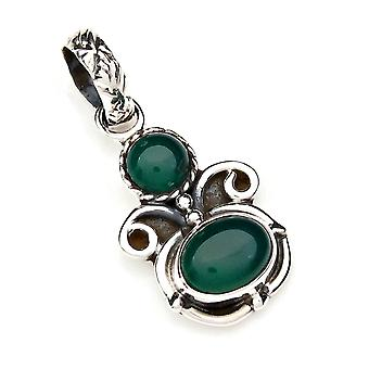 Kettinghanger Amulet Silver 925 Sterling Silver Green Onyx Green Stone (Nee: MAH 112-14)