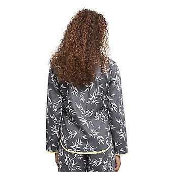 Cyberjammies 4347 vrouwen ' s Willow grijs bamboe blad print katoenen pyjama top