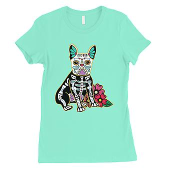 Frenchie dag van dode grappige Halloween kostuum cute Womens Mint T-shirt