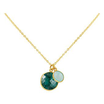 GEMSHINE necklace emerald, chalcedony gemstones 925 silver, gold plated or rose