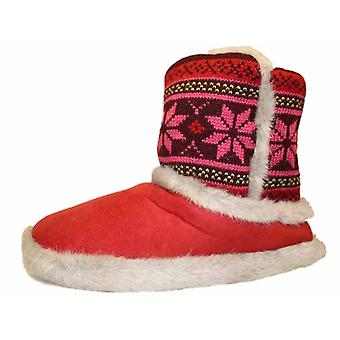 Coolers Womens Microsuede Knitted Ankle Boot Slippers