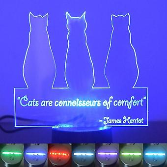3 Sitting Cats and Quote Colour Changing LED Acrylic Light