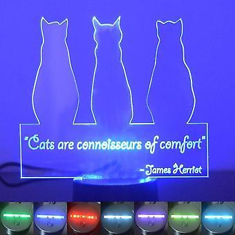 3 sittende katter og tilbud farge skiftende LED akryl lyset