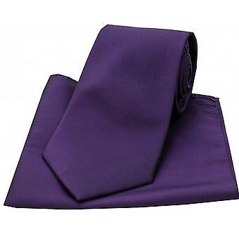 David Van Hagen Satin cravatta seta e Pocket Square Set - Deep Purple