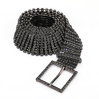 Kobiety's Bling Belt 8 Row Clear Crystal Diamante Studded Metal WaistBand