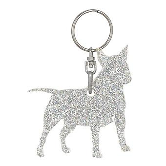Holographic Silver Miniature Bull Terrier Style 1 Glitter Acrylic Keyring