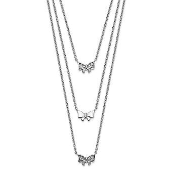 925 Sterling Silver Rhodium plaqué Three Strand CZ Cubic Zirconia Simulated Diamond Bow With 2inch Ext. Necklace 16 Inch