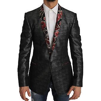 Dolce & Gabbana Gray Silver Gold Floral Blazer Jacket