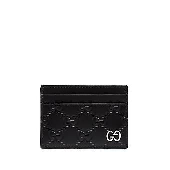 Gucci 473927cwc1n1000 Men's Black Leather Card Holder