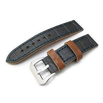 Strapcode crocodile grain watch strap 22mm miltat antipode watch strap dark grey crococalf in lake blue hand stitches