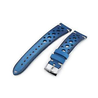 Strapcode leather watch strap 20mm or 22mm miltat italian handmade racer vintage blue watch strap, white stitching