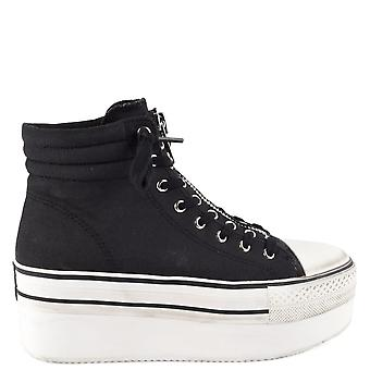 Ash JAGGER Zip Platform Trainers Black Canvas