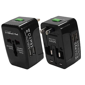 International Travel Adapter 2 USB Ports UK, USA, AUS, NZ, EU- Akashi, White