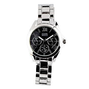 Eton Womens Boyfriend Style Fashion Watch, Black Mock Chrono Dial - 3194L-BK