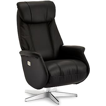 Furnhouse Black Leather Recliner Bonanza, 1 Seater, 76x83x115 cm
