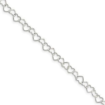 925 Sterling Silver Polished 0.6mm Fancy Love Heart Link Anklet 10 Inch Spring Ring Jewelry Gifts for Women