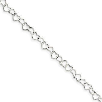 925 Sterling Hopea kiillotettu 0,6 mm Fancy Love Heart Link Nilkkakoru 10 tuuman kevätrengas korut lahjat naisille