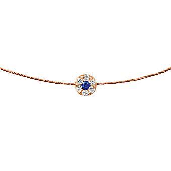 Choker Duchess Sapphire 18K Goud en Diamanten, op Thread - Rose Gold, Chesnut