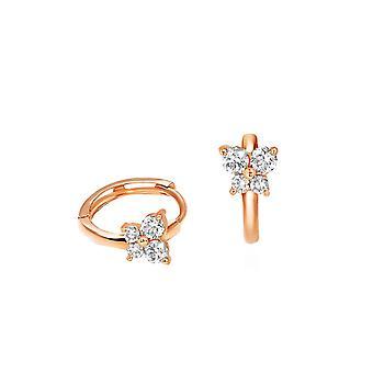 Ohrringe dünne Creolen Fee 18K Gold und Diamanten