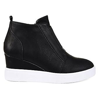 Brinley Co. Womens Clayre Athleisure Laser-Cut Side-Zip Sneaker Wedges Black,...