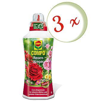 Disperso: 3 x fertilizante rosa COMPO, 1 litro