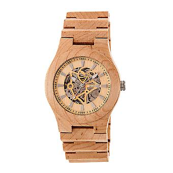 Jorden trä Gobi automatisk skelett armband Watch - Khaki/Tan