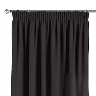 Vorhang mit Kräuselband, schwarz, 130 × 260 cm, Cotton Panama, 702-09