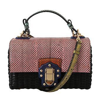 Pink black leather gold lucia hand shoulder purse