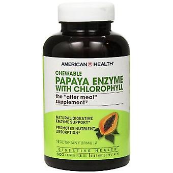 American Health Papaya Enzyme Chlorophyll Chewable Tablets 600 Ct