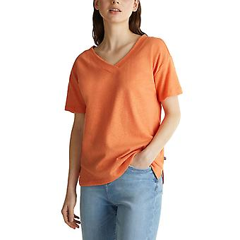 Esprit Women's Linen Blend T-Shirt Normal Fit Γυναικειο Πορτοκαλι