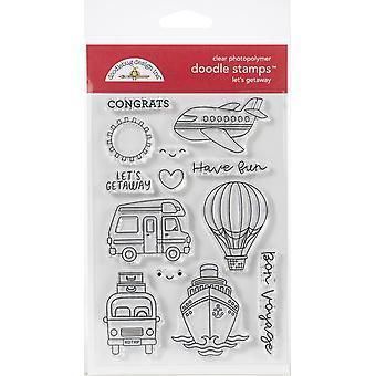 Doodlebug Clear Doodle Stamps-Let's Getaway, I Heart Travel