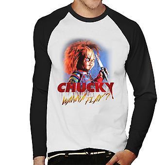 Chucky Wanna Play Crazed Face Men's Baseball Long Sleeved T-Shirt