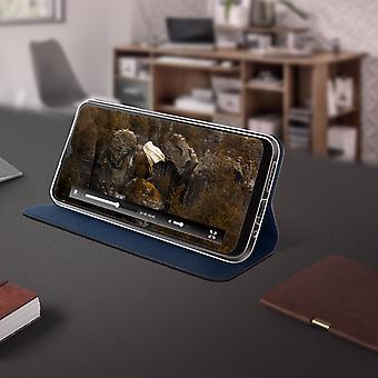 Motorola Moto G8 Power Flip Case with Stand Function and Wallet - Dark Blue