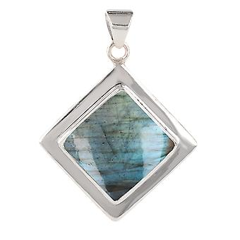 ADEN 925 Sterling Argent Labradorite Square Shape Pendentif Collier (id 3935)