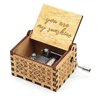 You Are My Sunshine Engraved Vintage Hand Crank Wooden Music Box For Wedding. Valentine Christmas Birthday