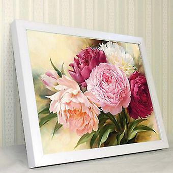 5d Full Diamonds Peony Flowers Embroidery Cross Stitch Kit 40*30cm - Handmand Diy Decoration Crafts Kit